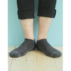單色運動逆氣流氣墊船短襪-深灰-XL加大款
