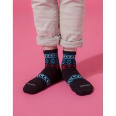 民族圖騰微分子長薄襪-黑色
