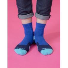 幾何圖形運動氣墊襪-藍色