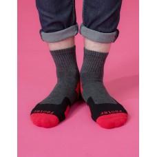 幾何圖形運動氣墊襪-紅色