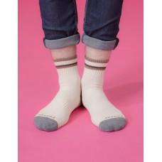 歐式經典雙色氣墊襪-米色