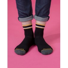 歐式經典雙色氣墊襪-黑色