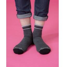 歐式經典雙色氣墊襪-灰色