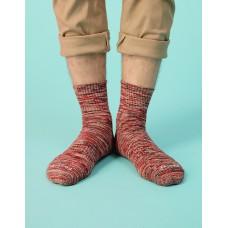 混色潮流氣墊襪-亮紅