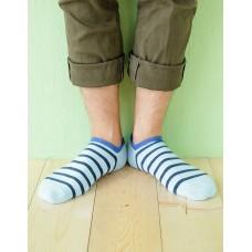 個性條紋運動船短襪-藍色
