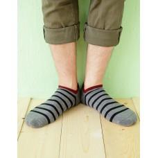 個性條紋運動船短襪-灰色