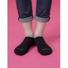 簡約雙色運動船短襪-黑色