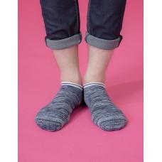 學院感花紗運動船短襪-藍色