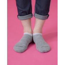 學院感花紗運動船短襪-灰色
