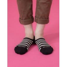 經典條紋船短隱形襪-黑色