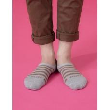 經典條紋船短隱形襪-淺灰