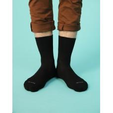 紳士素面寬口襪-黑色