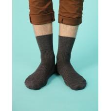 紳士素面寬口襪-灰色
