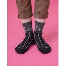 棋盤格紳士長薄襪-黑色