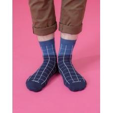 棋盤格紳士長薄襪-藍色