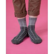 棋盤格紳士長薄襪-灰色