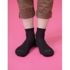復古直線條微分子長薄襪-黑色