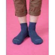 復古直線條微分子長薄襪-藍色