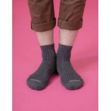 復古直線條微分子長薄襪-深灰