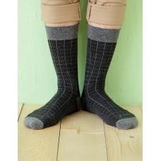 方格紳士長薄襪-黑色