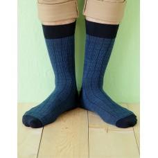 方格紳士長薄襪-藍色