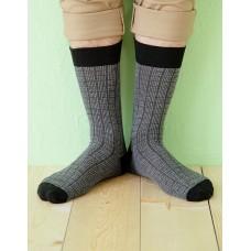 方格紳士長薄襪-深灰