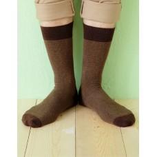 日本麻繩設計款紳士長薄襪-咖啡色