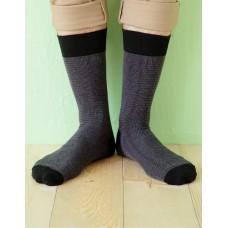 日本麻繩設計款紳士長薄襪-黑色