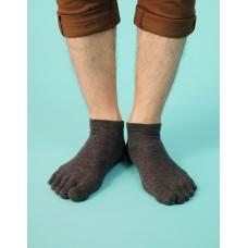 紳士素面五趾短襪-灰色