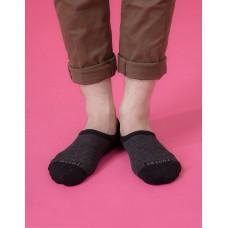 細條紋拼接船短隱形襪-黑色
