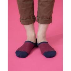細條紋拼接船短隱形襪-藍色
