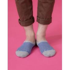 細條紋拼接船短隱形襪-灰色