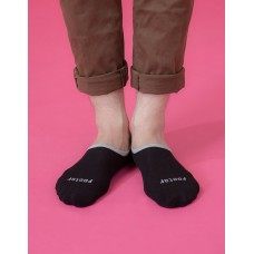素色滾邊船短隱形襪-黑色