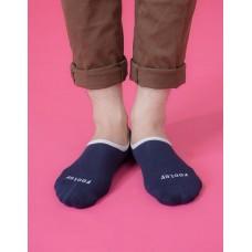 素色滾邊船短隱形襪-藍色