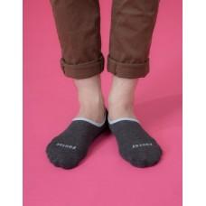 素色滾邊船短隱形襪-深灰