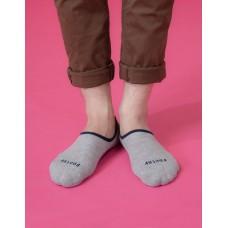 素色滾邊船短隱形襪-淺灰