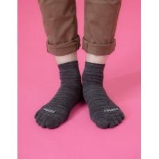 混紗拼接五趾薄襪-黑色