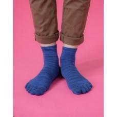 混紗拼接五趾薄襪-藍色