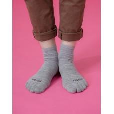 混紗拼接五趾薄襪-灰色