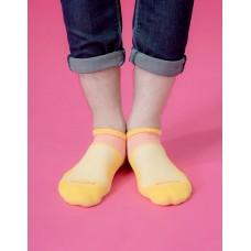 全薄款輕壓力足弓船短襪-黃色