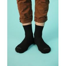 微分子氣墊單色長薄襪-黑色