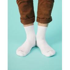 微分子氣墊單色長薄襪-白色