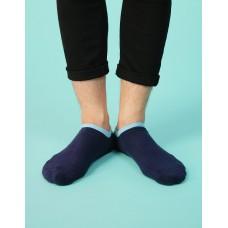 簡約雙色運動船短襪-藍色