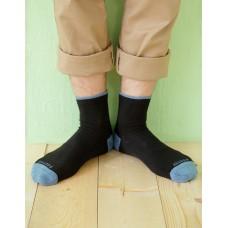 日系雙色設計款單色長薄襪-藍色
