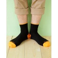 日系雙色設計款單色長薄襪-黃色
