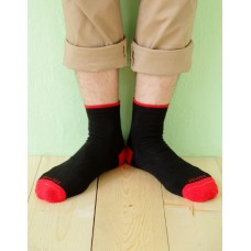 日系雙色設計款單色長薄襪-紅色