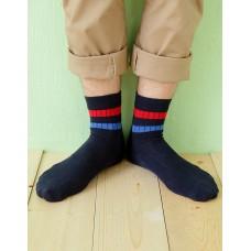 都會雙色線條薄襪-藍色