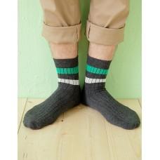 都會雙色線條薄襪-深灰