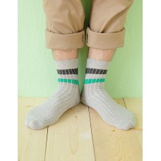 都會雙色線條薄襪-淺灰