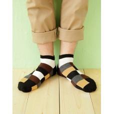 英式格紋船短襪-黑色